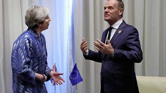 Theresa May en Donald Tusk