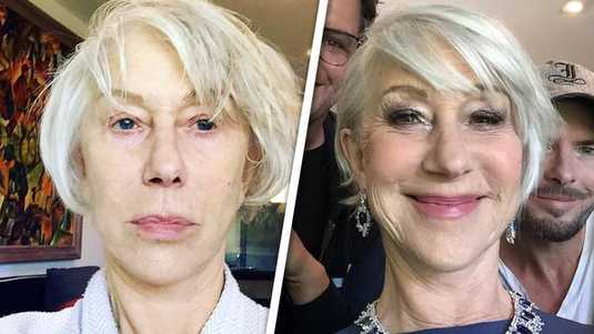 Helen Mirren voor en na de haar en make-up