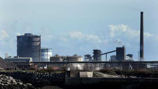 A picture shows the Tata Steel steel plant at Port Talbot