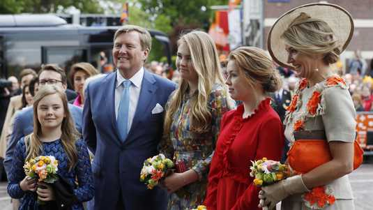 King Willem-Alexander, Maxima Queen and Princess Amalia, Alexia and Ariane King's Day 2019 in Amersfoort.