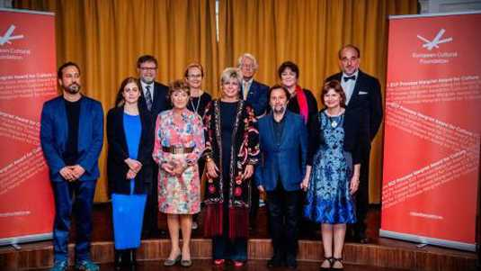 Prinses Margriet en Prinses Laurentien tijdens de uitreiking van de ECF Princess Margriet Award for Culture 2018