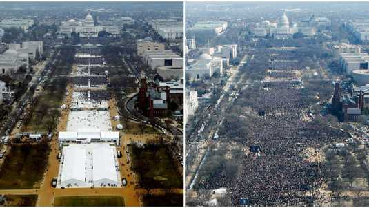 Links: de inauguratie van Trump in 2017, rechts die van Barack Obama in 2009.