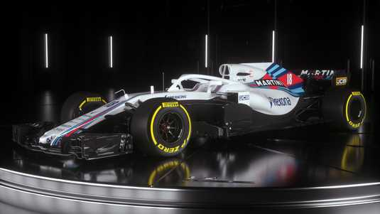 De nieuwe FW41-bolide van F1-team Williams Martini Racing.